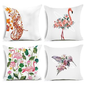 Creative Pillow Pink Flamingo elephant hummingbird pattern Polyester Cushion Invisible Zipper Home Decorative Throw Pillow