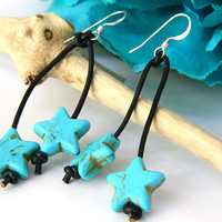 Blue Turquoise Star Dangle Earrings Handcrafted Black Leather Short Silver