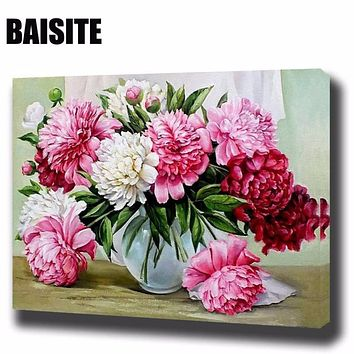 DIY Framed Oil Painting By Numbers Flowers Pictures Canvas Painting