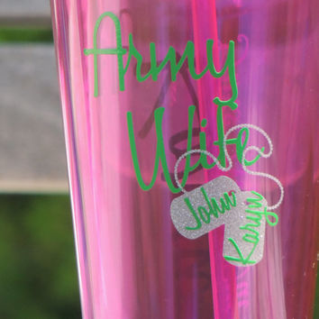 army wife tumbler, personalized cup, army mom cup, military spouse tumbler, acrylic tumbler, holiday gift, cup with dog tags,party cup