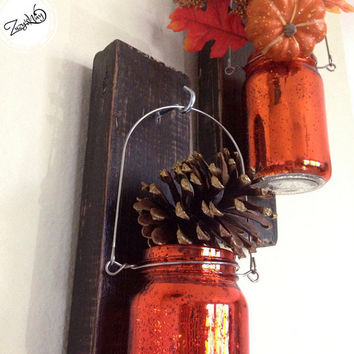 Holiday Spirit Candle Holder / Thanksgiving Candle Holder / Wooden Wall Sconce / Rustic Wood Wall Sconce / Christmas Wall Candle Holder