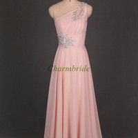 unique one shoulder prom dresses with rhinestone floor length elegant chiffon evening dress cheap party gowns for girls