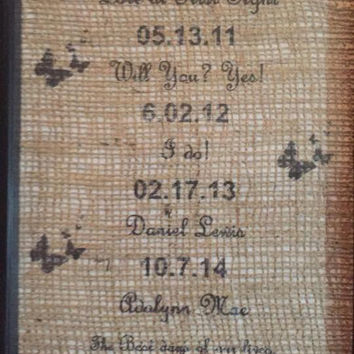 One day at a time, the difference a day can make, burlap print, wedding dates, family names, family dates, love dates, kids birthdays