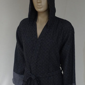 Gray and black colour Turkish soft thick cotton hooded bathrobe, dressing gown.