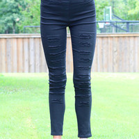 High Waist Distressed Jeggings {Black}