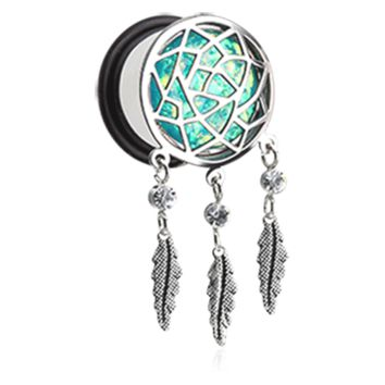 Opal Sparkle Dreamcatcher Single Flared Ear Gauge Plug Surgical Steel Body Jewelry