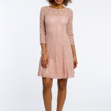 Three -Quarter Sleeve Sequin Lace Dress