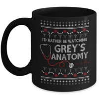 I'd Rather Be Watching Grey's Anatomy Christmas Mug