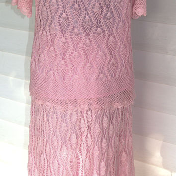1980 Bright Pink Handmade Crochet Dress/ Vintage Crochet Two Piece Dress/ Woman's Vintage Handmade Crochet Dress Set Size XL