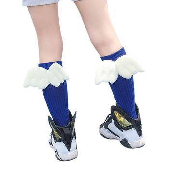 Cute Wing Children Socks For Girls Leg Warm Stripes Cotton Baby Kids Socks Knee High Socks For Toddler Girl Clothing Accessories