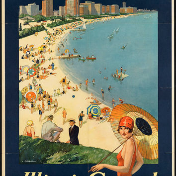 "c.1930s ""Chicago the Vacation City- Windy City"" Travel Poster- -Antique-Old-Vintage Reproduction Photograph/Photo: Gicclee Print. Frame it!"