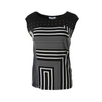 Calvin Klein Womens Faux Leather Printed Pullover Top