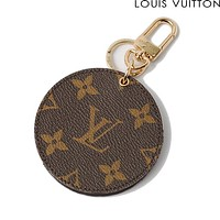 Trulym LV Louis Vuitton Fashion Trending Leather Key Pouch Round Small Key Wallet