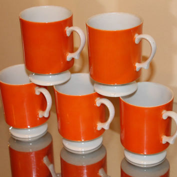 Vintage Orange Mid-Century Modern Tea Cups or Coffee Mugs Set of 5