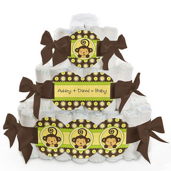 Monkey Neutral - Personalized Baby Shower Square Diaper Cakes - 3 Tier
