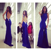 Sexy Formal Blue Long Women Backless Dress Prom Evening Party Cocktail Bridesmaid Wedding blue