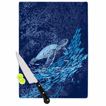 "Frederic Levy-Hadida ""The Turtle Way"" Aqua Blue Cutting Board"