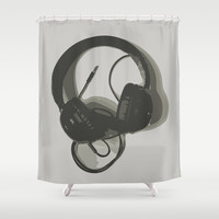 Headphones Shower Curtain by GoAti