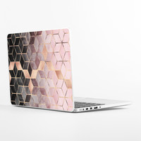 Pink Grey Gradient Cubes Laptop Skin