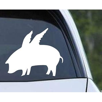 Pig Flying (ver a) Die Cut Vinyl Decal Sticker