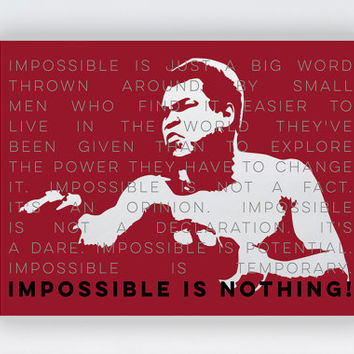 """Muhammad Ali (Cassius Clay) 24 x 18"""" Poster Wall Art Print - Impossible is Nothing Ali, Boxing Quote Print Artworks, Ali Fighting Art Poster"""