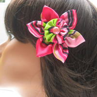 Fabric Flower Hair Clip, Hair Flower, Girls Hair Clip, Flower Clip