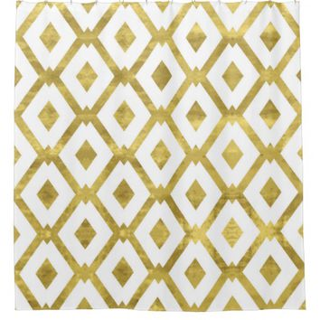 faux gold,diamond,pattern,checker,art deco,retro,c shower curtain