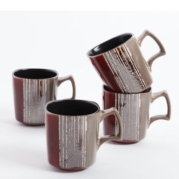 Contempo Cove 4 Pack 14oz Mugs - Red