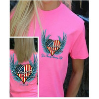 Country Life Outfitters Angel Pink USA Heart American Flag Wings Vintage Girlie Bright T Shirt