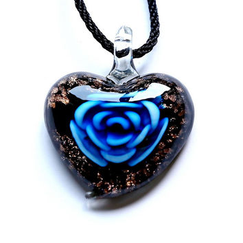 Heart Gold Sand high quality Handmade Murano flower lampwork Glass necklaces pendant Beads Pendant ribbon Necklace for women