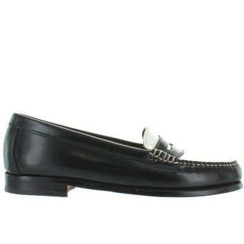 Bass Wayfarer   Black/white Leather Penny Loafer