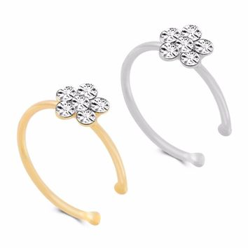 Flowery Crystal Nose Ring Indian Flower Nose Stud Hoop Septum Clicker Piercing Nose Clip Rings For Women Girls by Ritzy