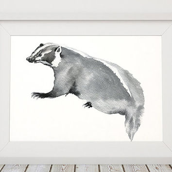 Cute nursery decor Badger poster Watercolor art print ACW174