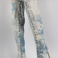 Studded Distressed Denim Lace Up Over-The-Knee Stiletto Boots