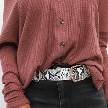 Taking Sides Snakeskin Gold Ring Double Buckle Belt