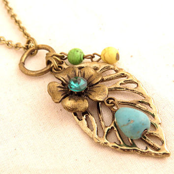 Leaf and Flower Charm Necklace with Turquoise Stones