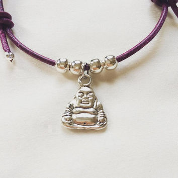 Yoga Leather Bracelet | Buddha | Purple | Bracelet | Mindfulnessbracelet | Leather Cord | Adjustable