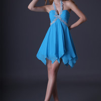 Blue Sequined Halter Ruched Homecoming Dress