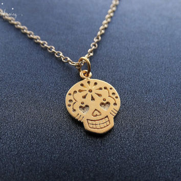 24k Gold Sugar Skull Necklace Day of the Dead Jewelry Gold Mexican Sugar Skull Pendant Dia de los Muertos 14k Gold gilled Necklace
