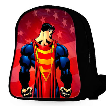 Superman And American Flag Backpack