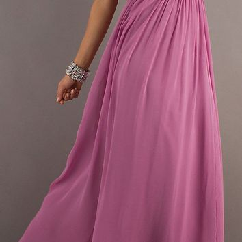 CLEARANCE - Dusty Lilac Chiffon Dress Long Flowy Empire Waist (Size 3XL)