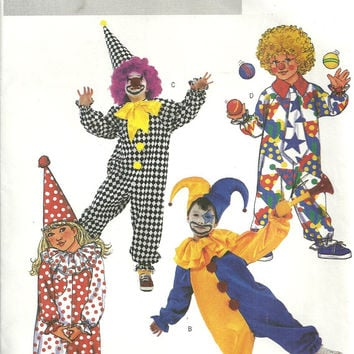 Children's Costume Pattern Clown, Court Jester Butterick 3990 Sizes 2 3 4 5