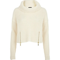 River Island Womens Cream roll neck cropped sweater