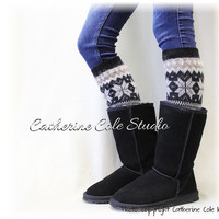 CUDDLY CASHMERE  tan/black ultimate soft knit snowflake women legwarmers boot cuff socks legginge leg warmers Catherine Cole Studio LW6