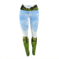 "Robin Dickinson ""Going to the Mountains"" Green Blue Yoga Leggings"