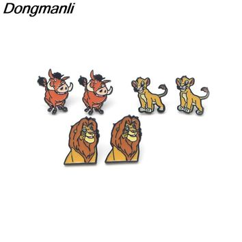 P3095 Dongmanli The Lion King Stainless Steel Pierce Ear Stud kids Cute Earrings For Womens Enamel Earrings Jewelry Gifts Girls