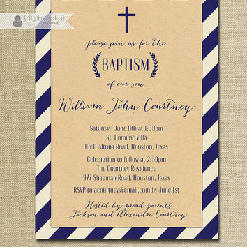 Kraft Stripe Boy Baptism Invitation Navy Stripe Cross Laurel Wreath Christening Baby Blue Christian DIY Digital or Printed - Courtney Style