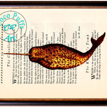 Burnt Orange Narwhale Art Beautifully Upcycled Vintage Dictionary Page Book Art Print, Sea Life Print