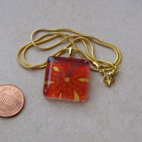 New one of a kind glass tile Japanese chiyogami print square 1 inch w red yellow green dots flowers necklace with chain Go Green