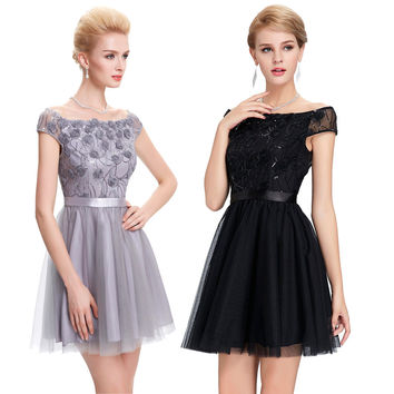 Sequin Luxury Cocktail Dresses 2016 Sexy See Through Black/Grey Coctail Dress Vestidos Coctel Short Prom Party Dress